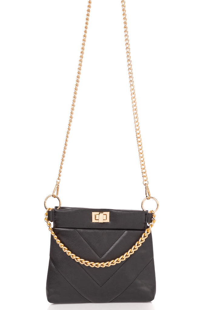 Quilted Cross Body Handbag With Chain Detail