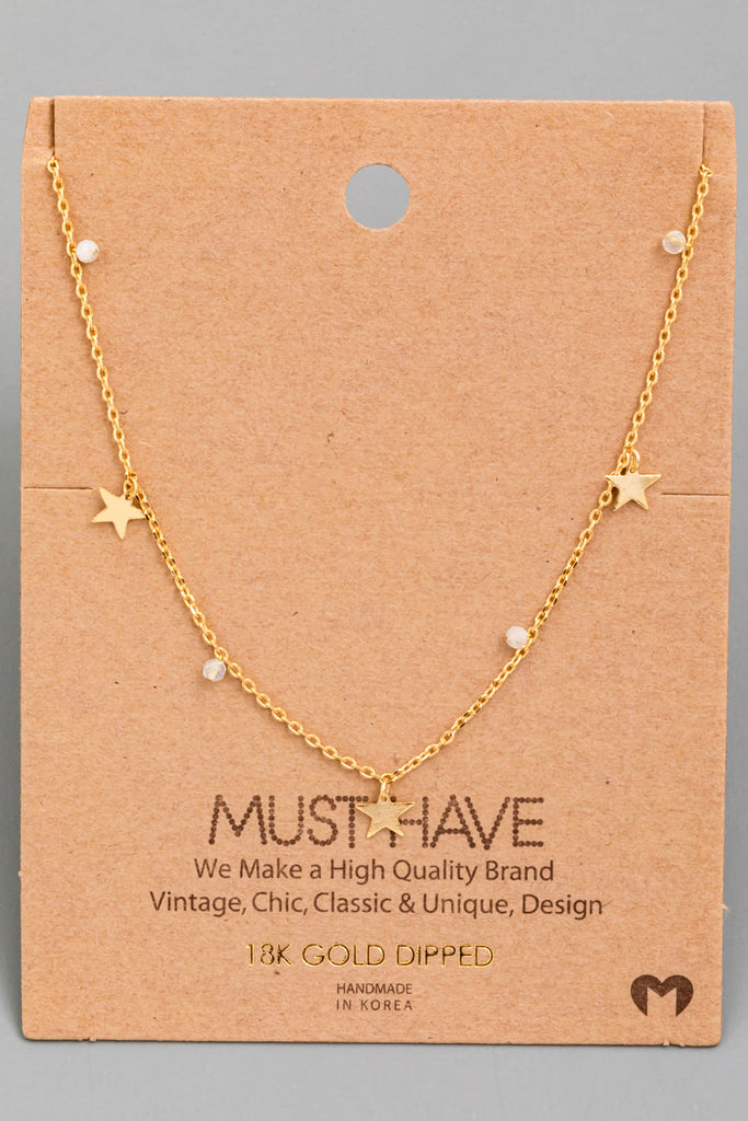 18k Gold Star Charm Necklace With Stones