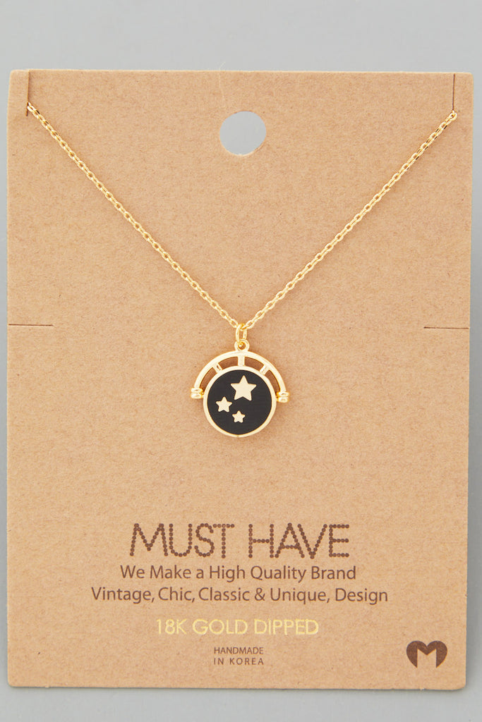 Enamel Star Charm Bezel Set Necklace