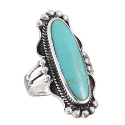 STERLING SILVER TURQUOISE LONG OVAL