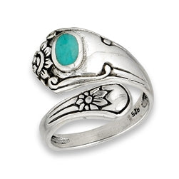 STERLING SILVER SPOON RING WITH TURQUOISE AND FLOWERS