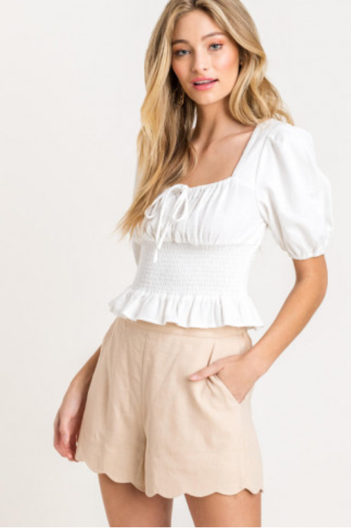 Peasant Smocked Top