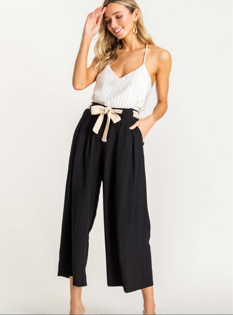 Belted High Waisted Cropped Pant