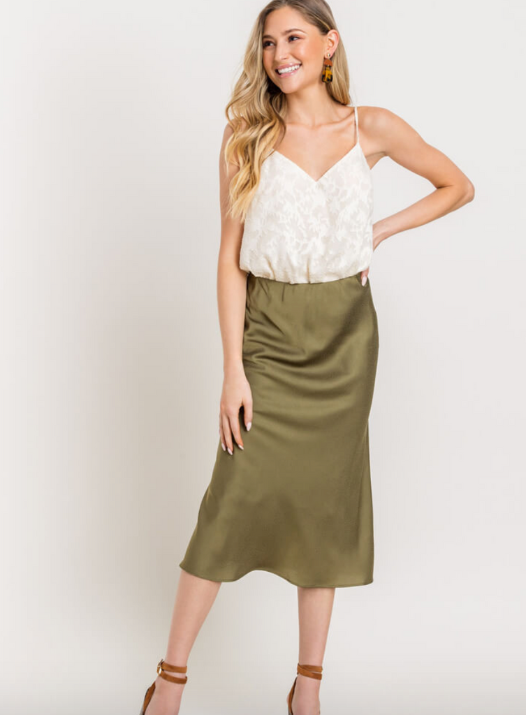 Normandy Satin Midi Skirt