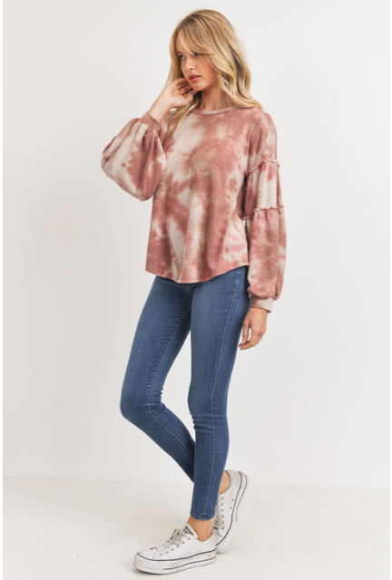 Tie Dye Cut Edge Shirring Long Sleeve Top