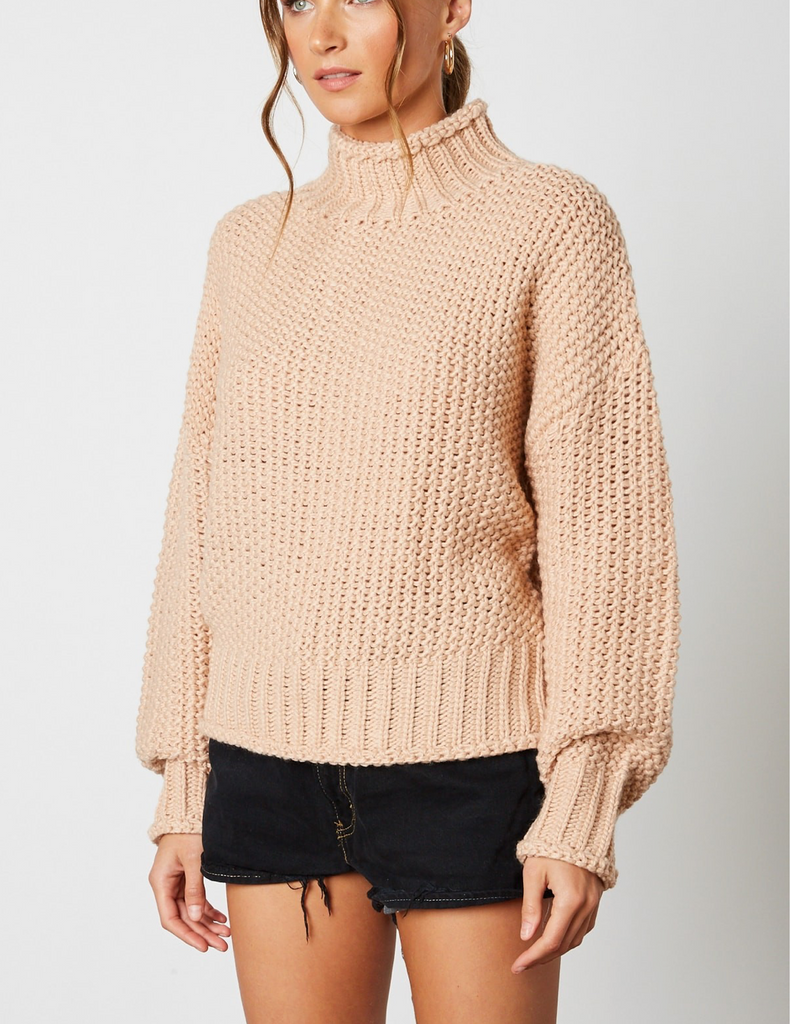 THE BUFFY MOCK NECK CROP SWEATER