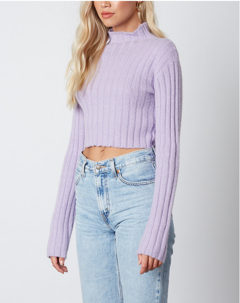 MOCK NECK CROP SWEATER