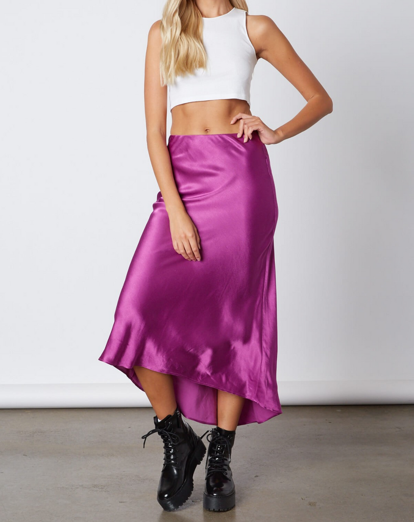 Orchid Satin Skirt
