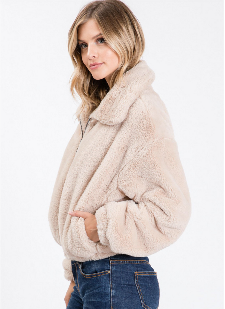 FUR ZIPPER FRONT POCKET JACKET C91042AP