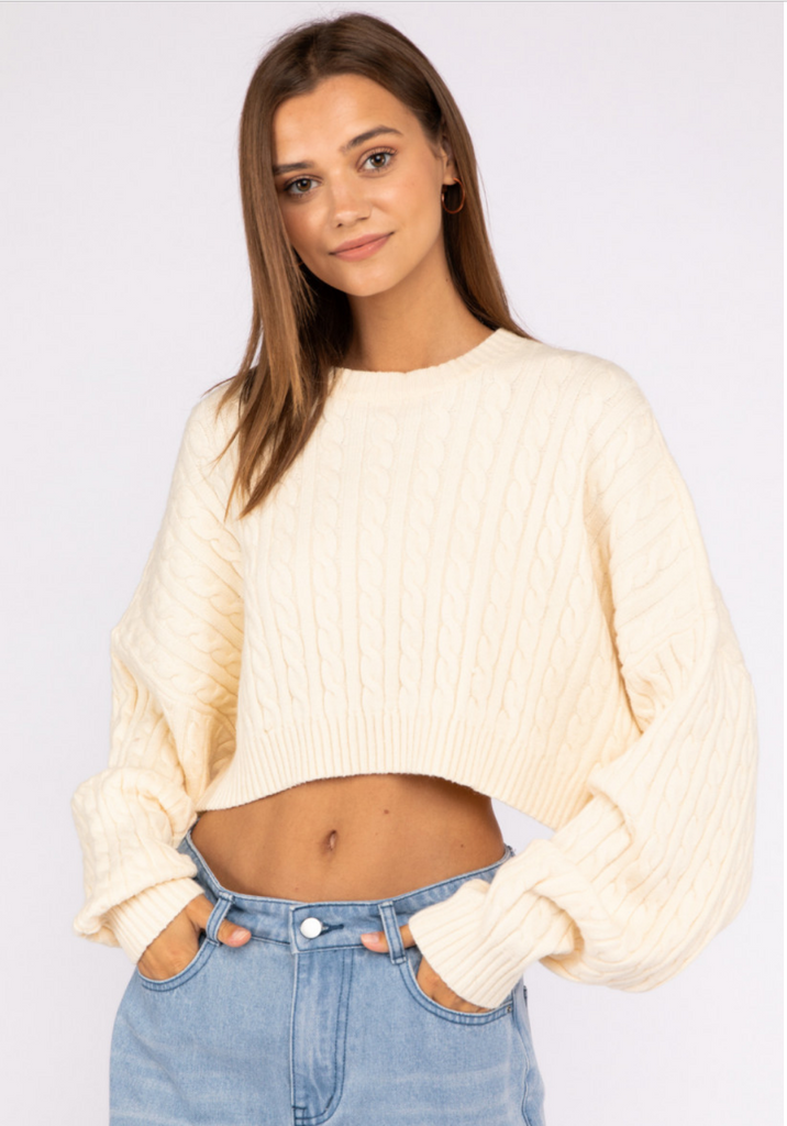 Lena Cropped Cable-knit Sweater