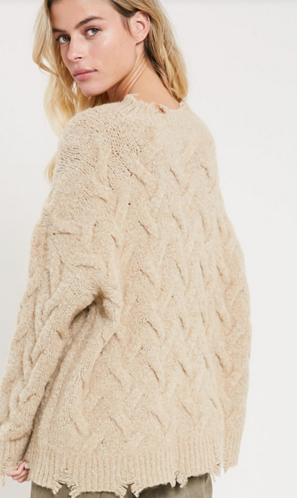 DISTRESSED OVERSIZED CABLE KNIT SWEATER