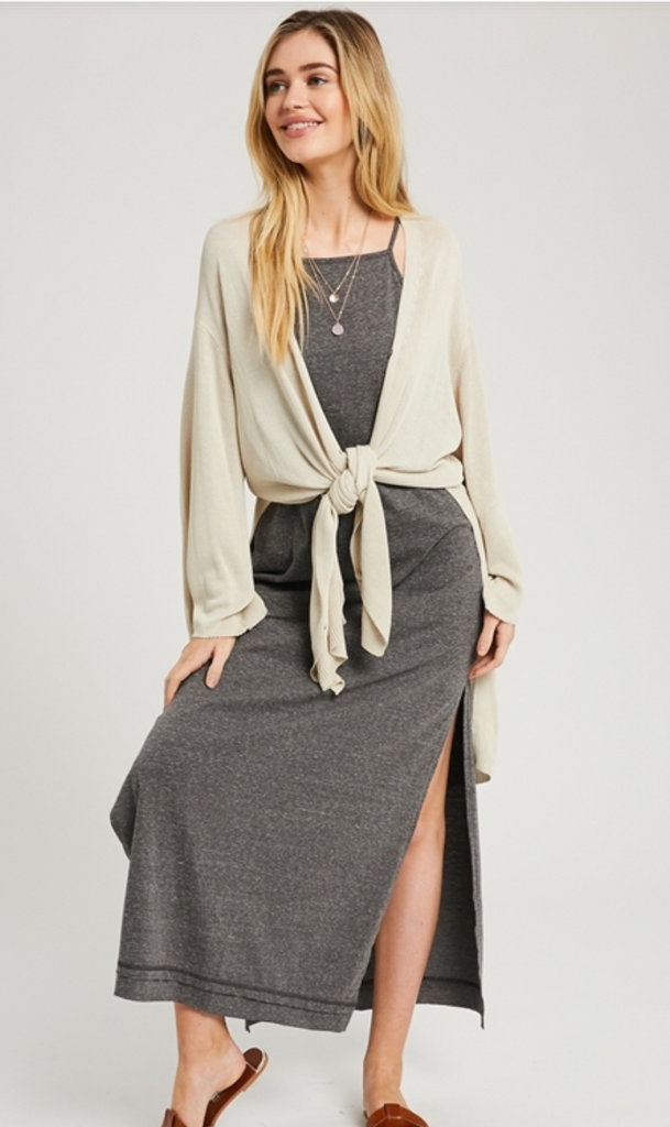 BUTTON FRONT CARDIGAN W SIDE SLIT