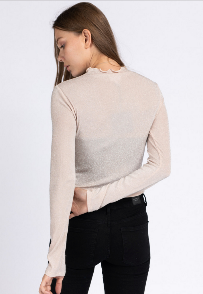 LS Glitter Top w Lettuce Hem Mock Neck