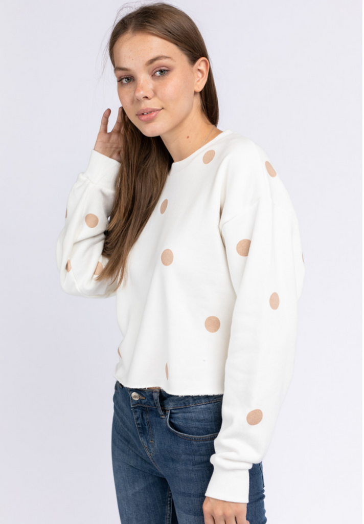 Concertina Crew Neck Dot Sweatshirt