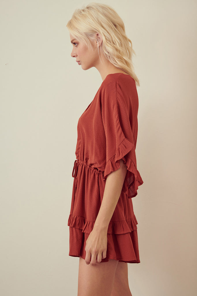 Ruffled sleeve and hem Romper