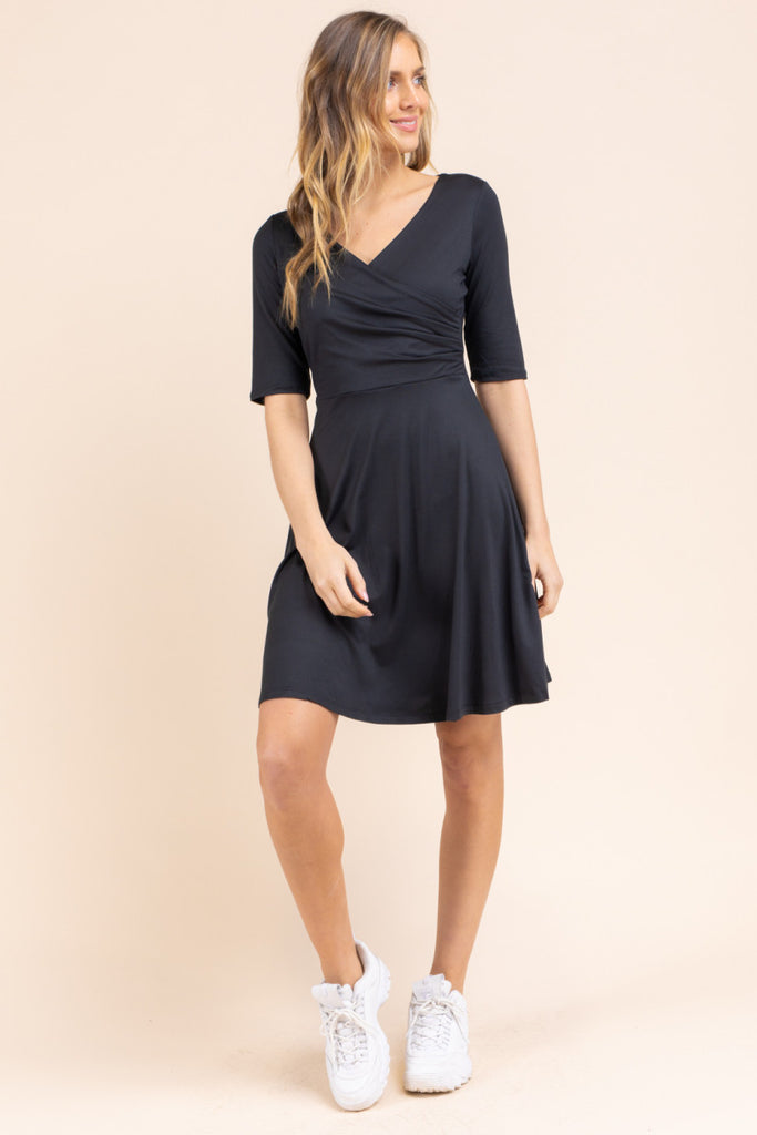 Surplice Wrap Front 3/4 Sleeve Swing Dress