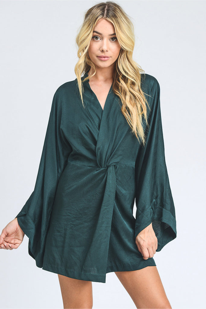 Solid V Neck Open Back Kimono Dress