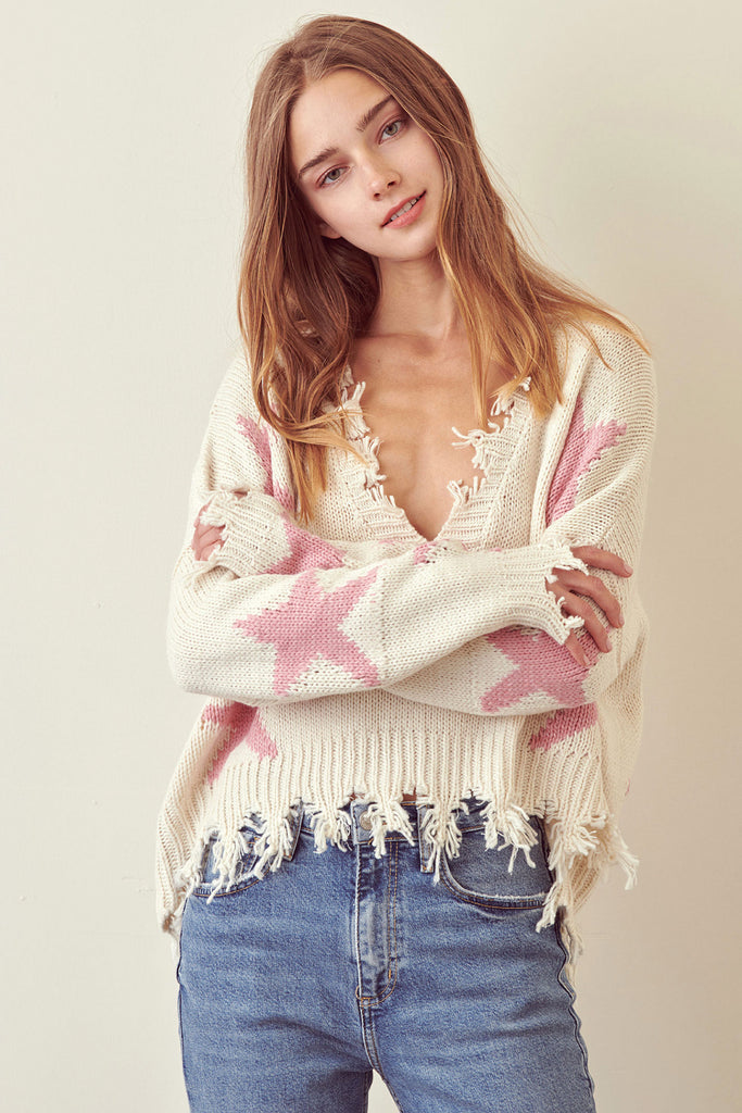 Distressed Star Knit Sweater
