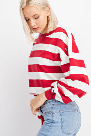 Distressed Striped Crewneck LS Top