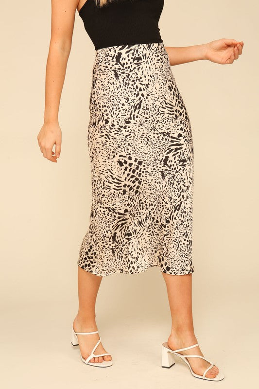 Wild Side Animal Print Midi Skirt