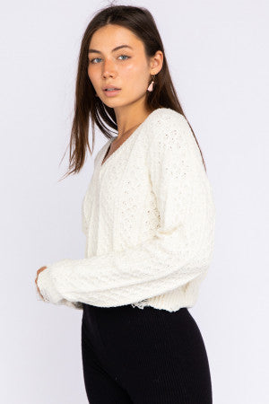 V neck mixed yarn sweater