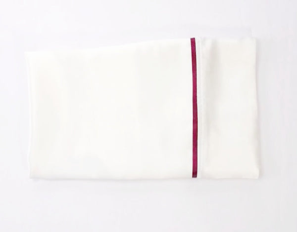 Serica Home silk pillowcase with burgundy trim
