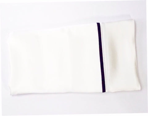 Serica Home silk pillowcase white with navy trim