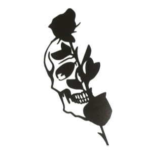 Half Skull and Black Rose Metal Wall Art - Metalhead Art & Design, LLC