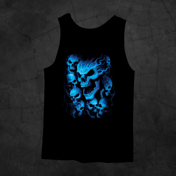 BLUE SKULLS TANK TOP - Metalhead Art & Design, LLC