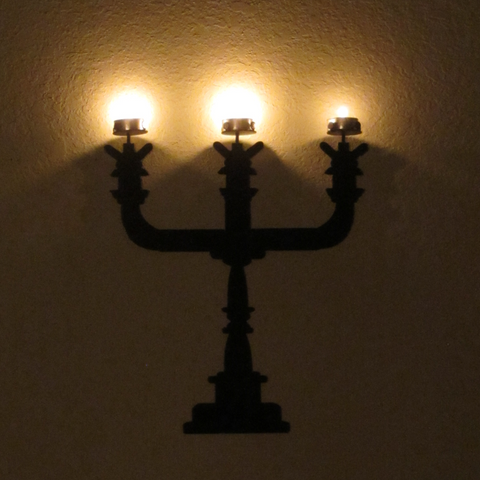 Candelabra Tea Light Metal Wall Sculpture - Metalhead Art & Design, LLC