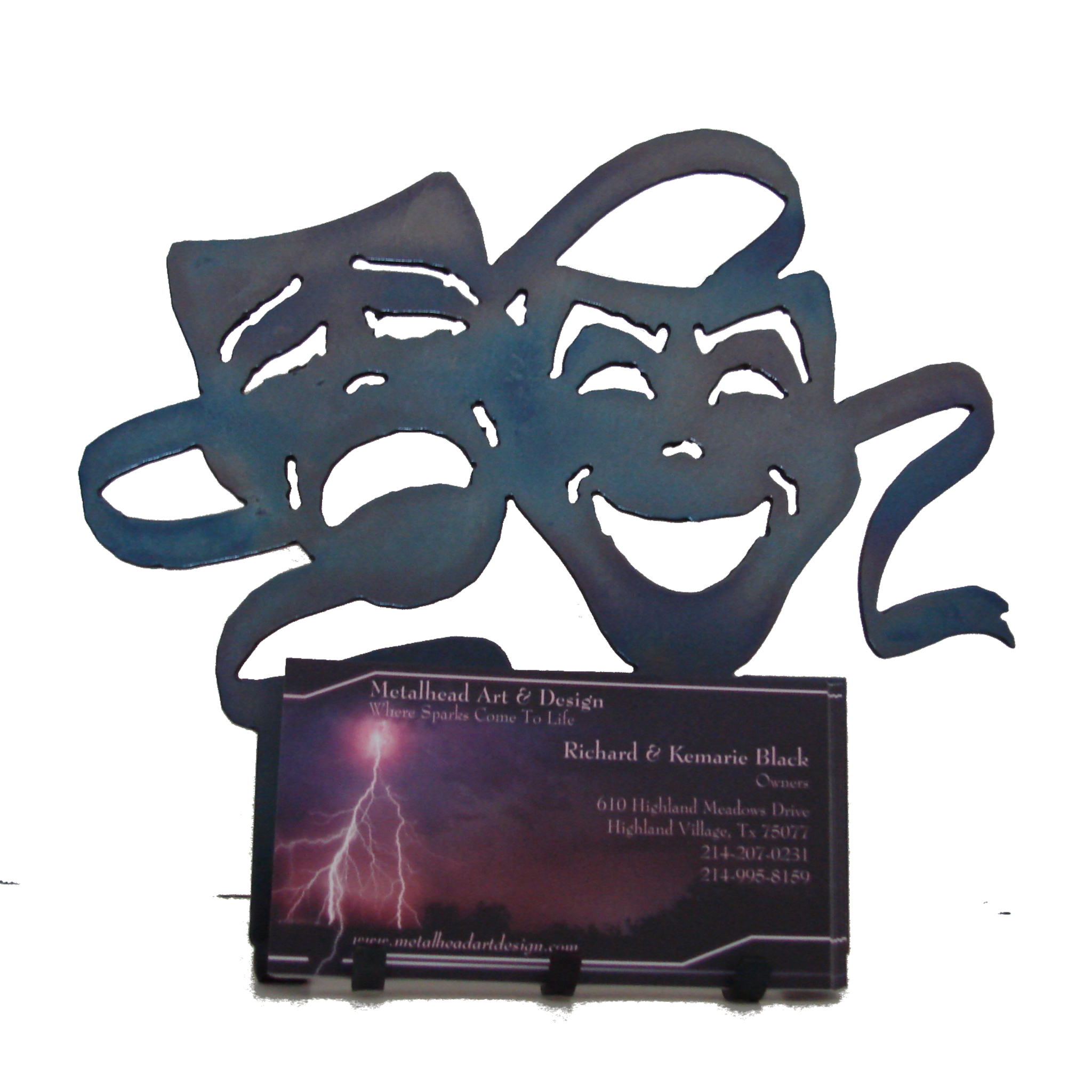 Comedy and Tragedy Business Card Holder - Metalhead Art & Design, LLC