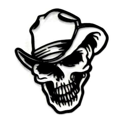 Spooky Cowboy Skull CNC Plasma Metal Art Sculpture - Metalhead Art & Design, LLC