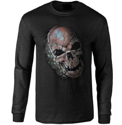 Cracked Skull Long Sleeve T-shirt - Metalhead Art & Design, LLC