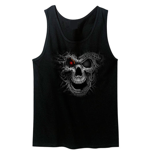 Cyborg Skull With Glowing Red Eye Tank Top - Metalhead Art & Design, LLC