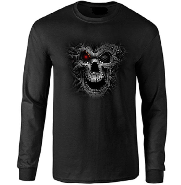 Cyborg with Red Eye Long Sleeve T-shirt - Metalhead Art & Design, LLC