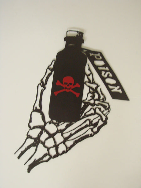 CNC Plasma Wicked Skeleton Hand Holding Poison Bottle Metal Wall Sculpture - Metalhead Art & Design, LLC