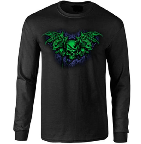 Demon Winged Long Sleeve T-shirt - Metalhead Art & Design, LLC