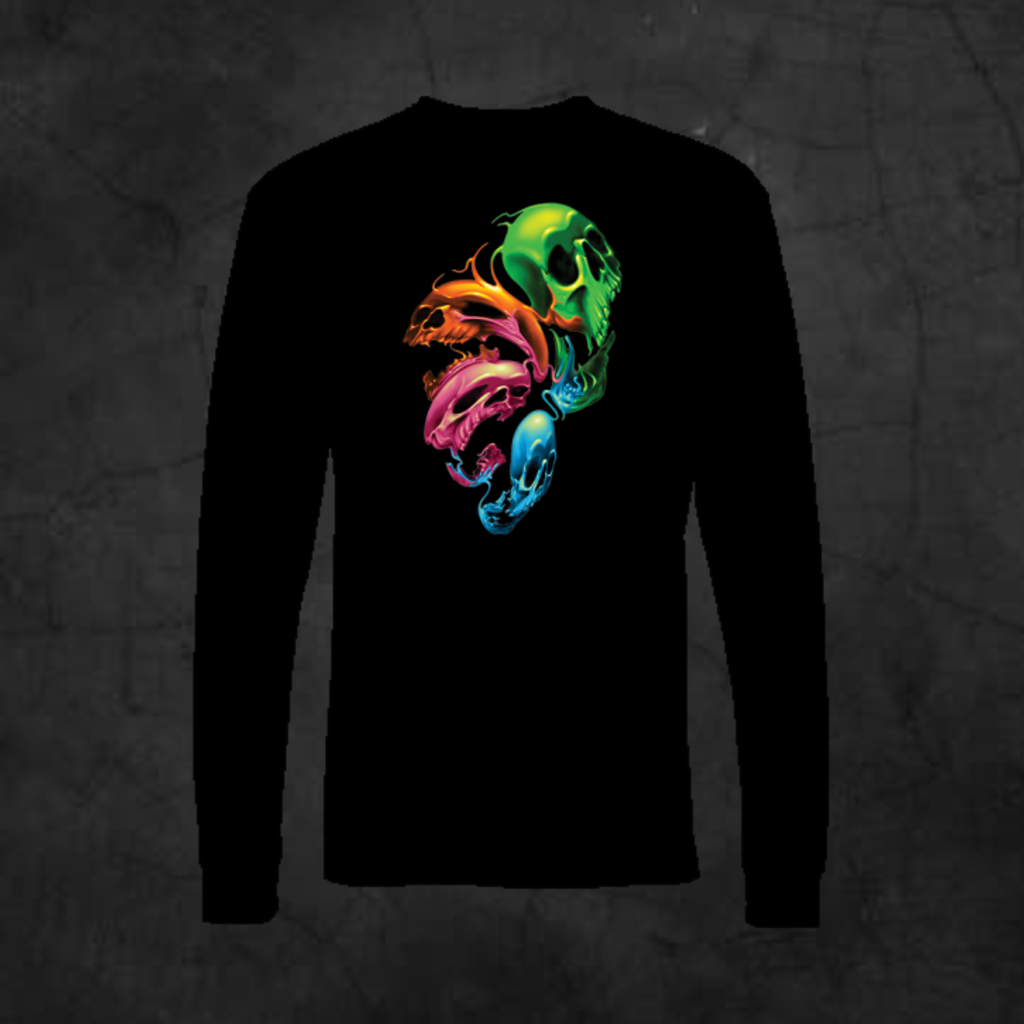 DISTORTED SKULLS - LONG SLEEVE - Metalhead Art & Design, LLC