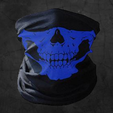 BLUE SKULL NECK GAITER FACE MASK