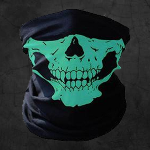 GREEN SKULL NECK GAITER FACE MASK