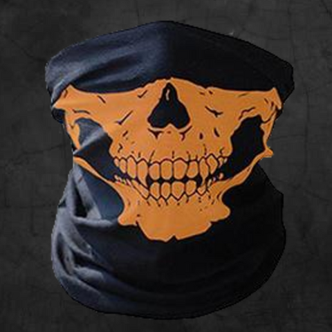 ORANGE SKULL NECK GAITER FACE MASK