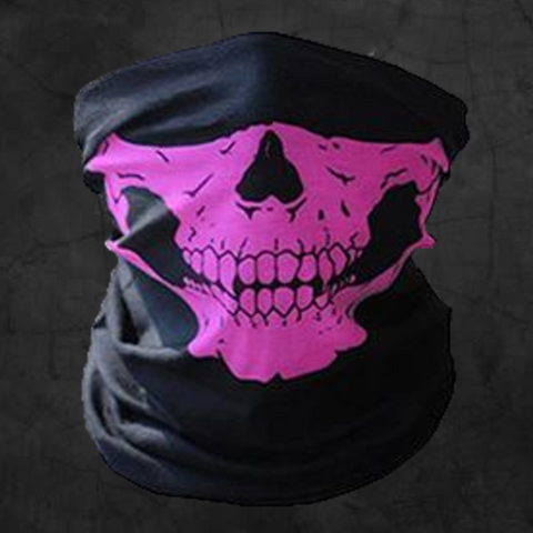 PINK SKULL NECK GAITER FACE MASK