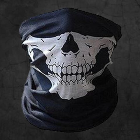 WHITE SKULL NECK GAITER FACE MASK