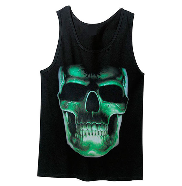 Glow in the Dark Large Skull Tank Top - Metalhead Art & Design, LLC