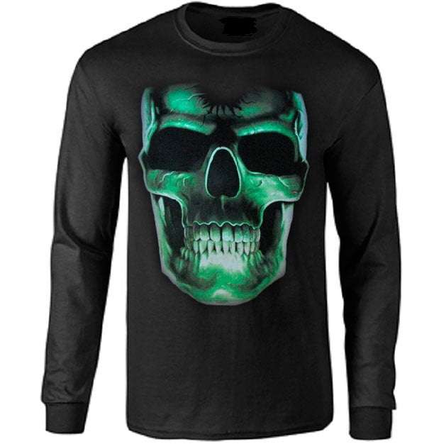 Large Glow In The Dark Skull Long Sleeve T Shirt Metalhead Art