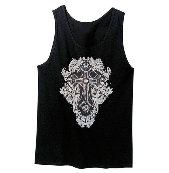Gothic Metal Chip Black and Silver Tank Top - Metalhead Art & Design, LLC