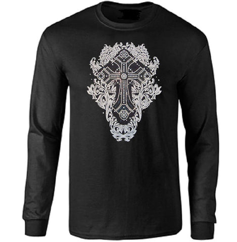 Gothic Silver Metalchip Long Sleeve Shirt - Metalhead Art & Design, LLC