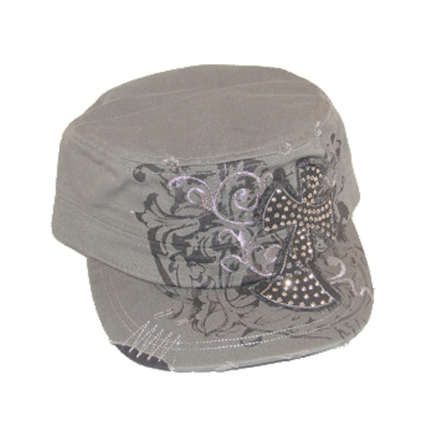 Gray Gothic Distressed Cross Hat - Metalhead Art & Design, LLC