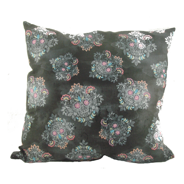 Gray Sugar Skull Throw Pillow - Metalhead Art & Design, LLC