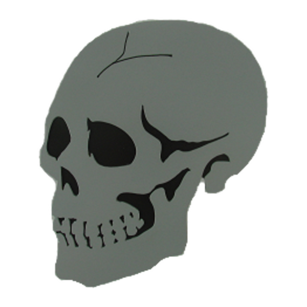 Gray Skull CNC Plasma Trailer Hitch Cover - Metalhead Art & Design, LLC